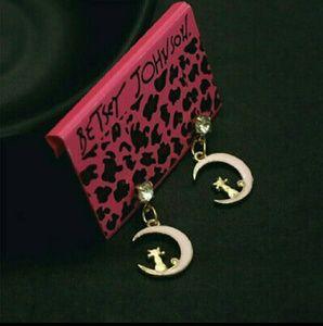 🆕 Betsey Johnson Cat moon earrings NWT